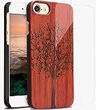 YFWOOD iPhone7ケース 木 iPhone8バックケース フィルム 絶美なレーザー彫刻木製アイフォン8カバー 赤檀 樹