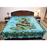Sarjana Handicrafts Indianキングサイズコットンボックスベッドシートドラゴンベッドスプレッドベッド approx. 88 Inches (223 cm) x 83 Inches (211 cm) ブルー
