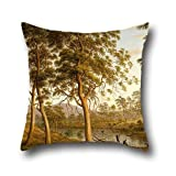 Throw Pillow Case Of Oil Painting John Glover - Natives On The Ouse River, Van Diemen's Land 18 X 18 Inches / 45 By 45 Cm,best Fit For Gril Friend,play Room,dance Room,boys,kids,bar Twin Sides (¥ 2,150)