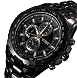 (オンラインで購入しやすいです) BUYEONLINE メンズ防水カレンダー日インポートクォーツステンレススチールブラックストラップカジュアルスポーツクォーツ腕時計 ブラック