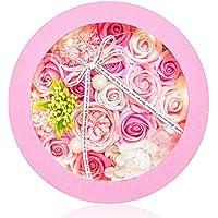 KIZAWA ソープフラワー 枯れない花 ギフト 誕生日 プレゼント 母の日 ホワイトデー 記念日 敬老の日 入学 卒業 お祝い フラワーアレンジメント (RoundLED, ピンク)