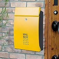 DS-ドンシェンショップ 郵便箱 - ヴィラ、中庭、家族に適したステンレススチール、ヨーロッパのヴィラの屋外防水と防雨の家庭用屋外壁掛けフリップレターボックス - 利用可能な様々な色 && (色 : Yellow door black box (no name card))
