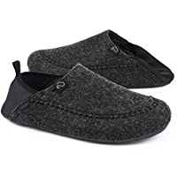 EverFoams Men's Comfy Faux Wool Felt Slipper with Removable Sole and Elastic Heel Cradle