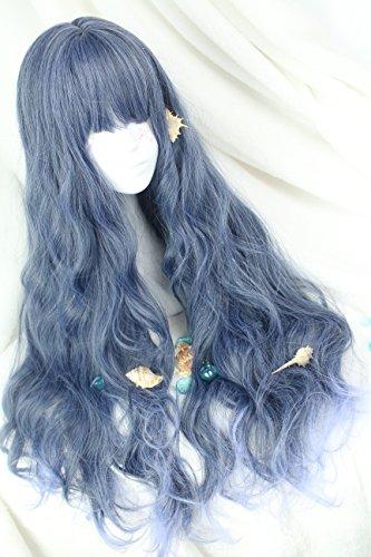 (インマン) INMAN フルウィッグ ウィッグ ロング ゆるふわ カール 巻き髪 自然 原宿 ロリータ 高品質 耐熱 グラデーション (ブルー)