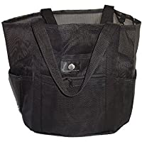 Saltwater Canvas Family Mesh Whale Bag Sand & Waterproof base 9 pockets Black