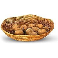 ZZHF xiyilan 籐のフルーツプレート乾燥フルーツディッシュ収納ボックススナックバスケットデスクトップ収納バスケットコーヒーテーブル仕上げ収納デブリ収納トレイ バスケット (サイズ さいず : 23 * 3cm)