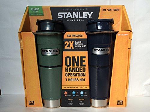 STANLEY(スタンレー) ワンハンド 真空ステンレスマグ 473ml 2本セット グリーン/ネイビー[並行輸入品]