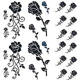 Yesallwas タトゥーシール 薔薇 黒 花 バラ 入れ墨シール リアル 防水 長持ち 和彫り 刺青シール ボディーシール 子供 メンズ レディース flower Tatoo (6枚(6×10.5cm))