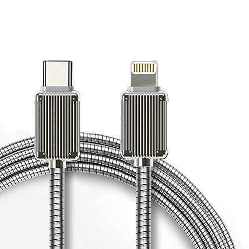 Type-C Lightningケーブル 急速充電 3.0A 充電とデータ同期 PD対応 1M タイプ-C ライトニング充電コード 金属製コネクタとスプリングワイヤ 新しいMacbook/Nintendo Switch/iPhone/iPad/iPodなどのデバイスに対応 USB-C Lightning Cable by SHARLLEN (C-L,シルバー)