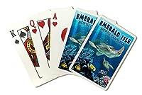 エメラルドIsle、ノースカロライナ州–Sea Turtle Swimming ( Playingカードデッキ–52カードPokerサイズwithジョーカー)