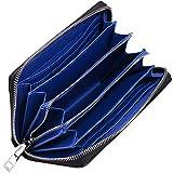 [ヤヨイ] YAYOI カーボンレザー 長財布 紳士用 財布 メンズ ブランド アウトレット 皮 大きい 長ざいふ パスケース 牛革 和柄 高校生 定期入れ付き 多機能 人気 おしゃれ カード12枚収納 ブラック×ブルー
