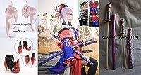 Fate/Grand Order 新免武蔵守藤原玄信コスプレ衣装+靴下+ 髪飾り+靴+イヤリング+ウイッグ+劍*4 *武器全セット