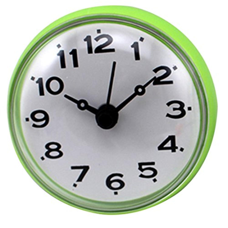 YIFAN ミニクロック 掛け時計 壁時計 家庭用 吸着タイプ 防水防霧 ラウンド 緑色