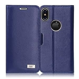 iPhone X ケース iPhoneX ケース,Fyy [RFIDブロッキング] [高級本革] 100%手作り 耐衝撃 横開き 手帳型 保護ケース カード収納 定期入れ スタンド機能付き マグネット式 財布型カバー スマホケース ネイビー