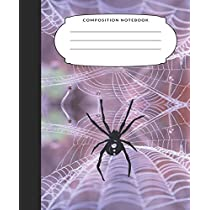 Composition Notebook: 7.5X9.25 Inch 109 Pages Halloween Themed Spider Web Half Blank Half Wide Ruled School Exercise Book With Picture Space For Kids and Adults - Grades K2 Primary Elementary Secondary School Kids - Draw And Write Your Own Stories
