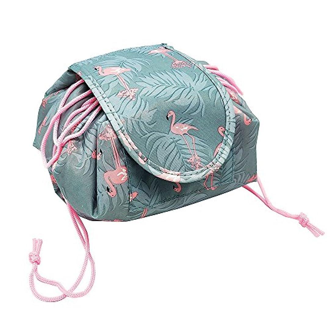見える平野失速YOE(ヨイ) 化粧ポーチ 巾着型 メイクポーチ 化粧品収納 ボックス メイクバッグ コスメ収納 ポーチ レディース (フリーサイズ, フラミンゴ)