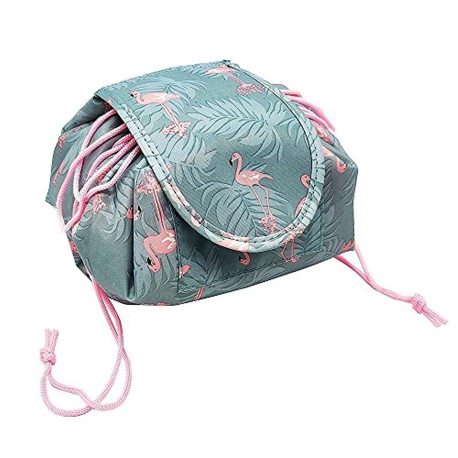 ストレージ強調リマYOE(ヨイ) 化粧ポーチ 機能的 マジックポーチ 化粧 ポーチ 巾着 メイクポーチ 大容量 化粧品収納ボックス メイクバッグ コスメ収納 (フリーサイズ, フラミンゴ)