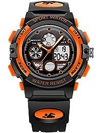 キッズ腕時計 デジタル アラーム 防水 スポーツ 子供 男の子 中学生 アナデジ表示 ledバックライト ストップウオッチ カレンダー オシャレ 誕生日プレゼント