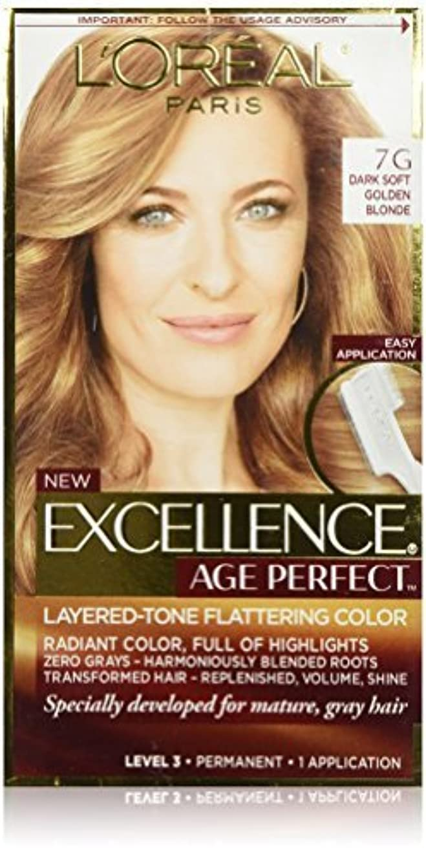 ドローかなりの真鍮L'Oreal Paris Hair Color Excellence Age Perfect Layered-Tone Flattering Color Dye, Dark Natural Golden Blonde...