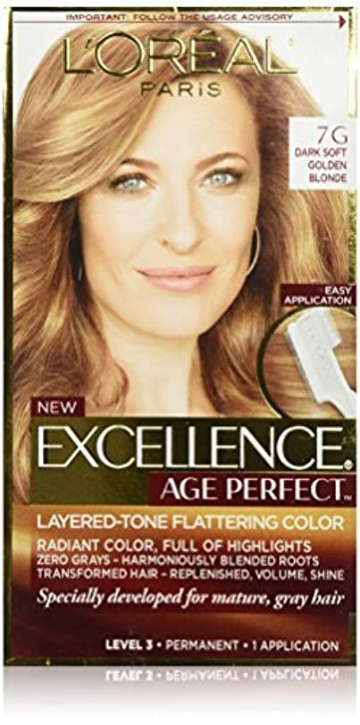 マーキング画面疑問に思うL'Oreal Paris Hair Color Excellence Age Perfect Layered-Tone Flattering Color Dye, Dark Natural Golden Blonde...