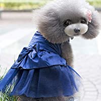 FidgetGear 子犬犬のためのレースのちょう結びのウェディングドレス猫ラインストーンプリンセスチュチュスカート 青