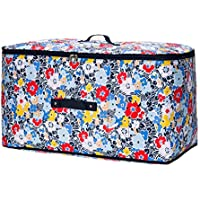 大型ストレージバッグ色の花柄オックスフォード布防水性防湿ポータブル高品質の旅行主催者の羽毛布団の衣服移動仕上げ荷物の収納袋 (サイズ さいず : 50 * 35 * 30cm)