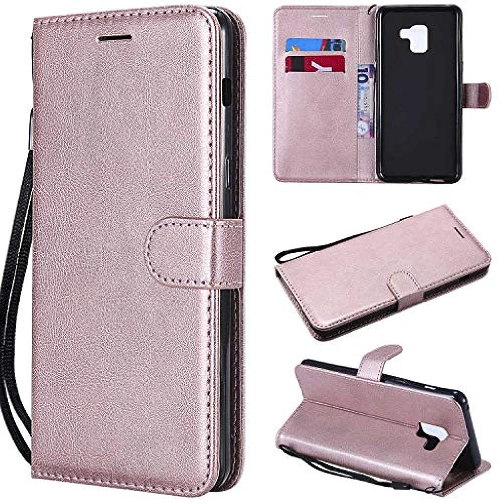 熟読吸収出口Galaxy A8 Plus ケース手帳型 OMATENTI レザー 革 薄型 手帳型カバー カード入れ スタンド機能 サムスン Galaxy A8 Plus おしゃれ 手帳ケース (4-ローズゴールド)