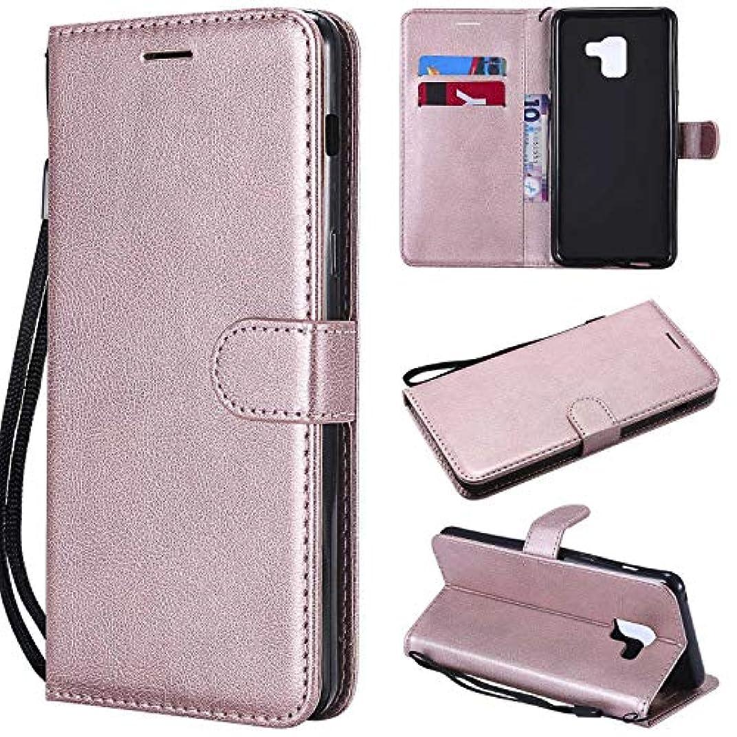 信頼性のあるラダ要件Galaxy A8 Plus ケース手帳型 OMATENTI レザー 革 薄型 手帳型カバー カード入れ スタンド機能 サムスン Galaxy A8 Plus おしゃれ 手帳ケース (4-ローズゴールド)