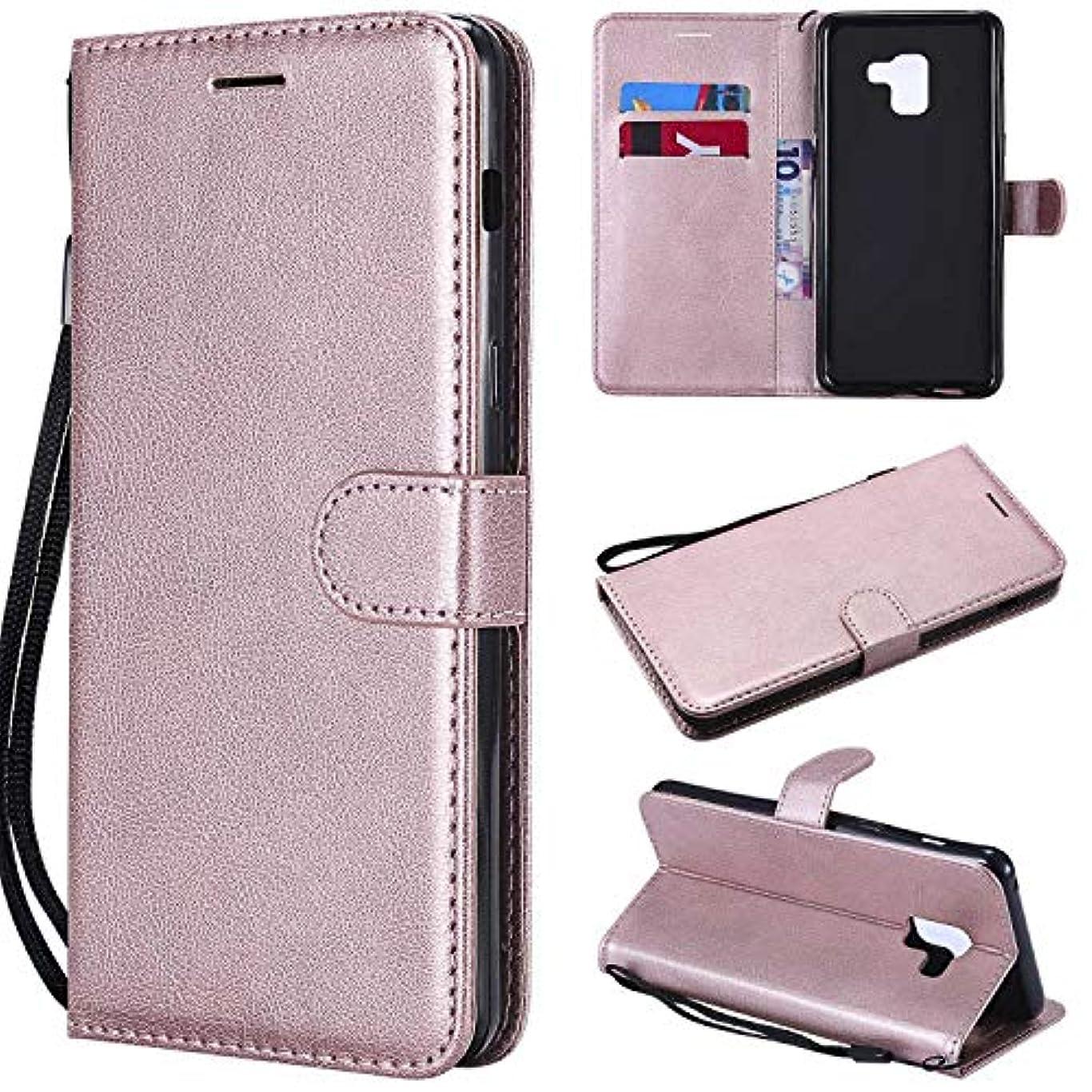 Galaxy A8 Plus ケース手帳型 OMATENTI レザー 革 薄型 手帳型カバー カード入れ スタンド機能 サムスン Galaxy A8 Plus おしゃれ 手帳ケース (4-ローズゴールド)