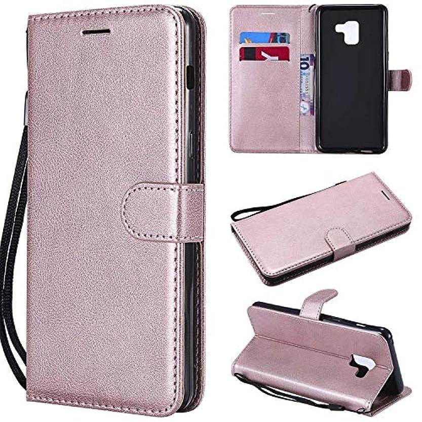 スズメバチナチュラアッティカスGalaxy A8 Plus ケース手帳型 OMATENTI レザー 革 薄型 手帳型カバー カード入れ スタンド機能 サムスン Galaxy A8 Plus おしゃれ 手帳ケース (4-ローズゴールド)