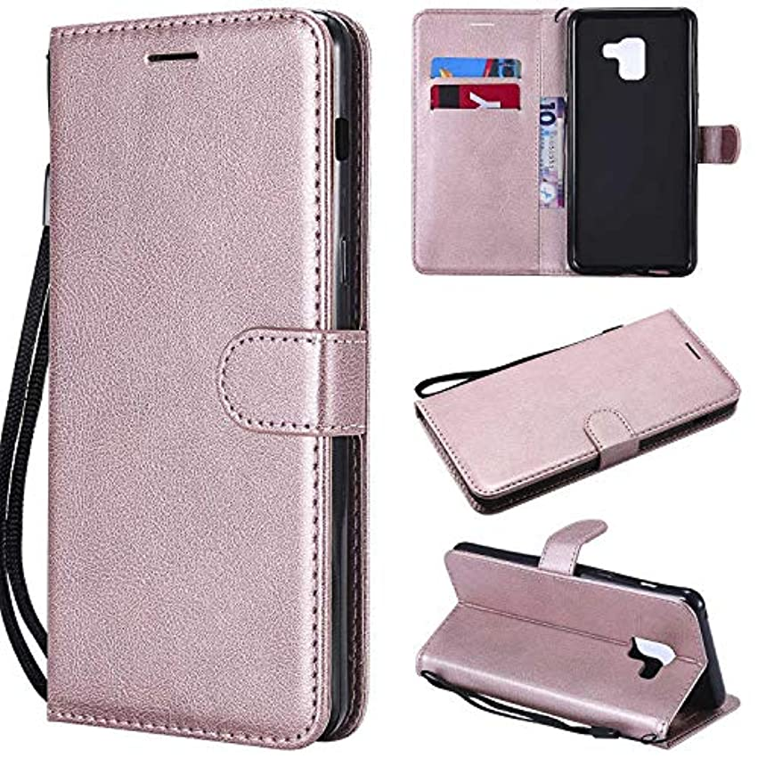 樫の木知事ヒューズGalaxy A8 Plus ケース手帳型 OMATENTI レザー 革 薄型 手帳型カバー カード入れ スタンド機能 サムスン Galaxy A8 Plus おしゃれ 手帳ケース (4-ローズゴールド)