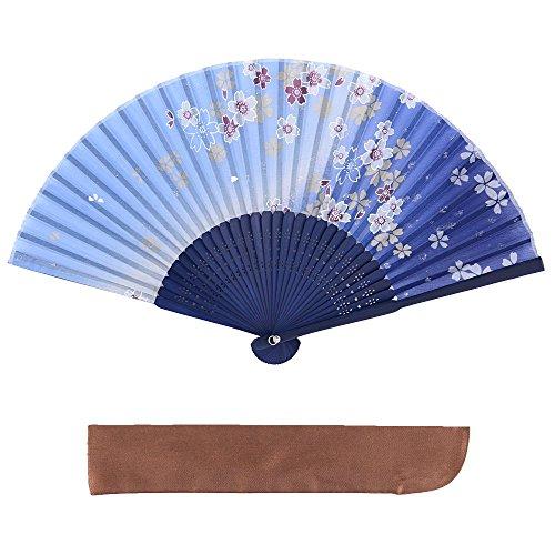 ヴィヴィラウンジ 絹 シルク 扇子 桜 花 花柄 扇子袋付 箱入り 母の日 プレゼント 暑さ 対策 レディース 女性 青 ブルー (グラデーション 青)