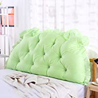単色 ヘッドボード, 枕 ダブル 長い角 畳 ソフトパック ベッド 腰枕 綿-緑 W140xH70cm(55x28inch)