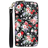 Women Rfid Blocking Wallet Zip Around Credit Card Phone Clutch Large Floral Purse Wristlet