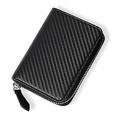 メンズ 小銭入れ コインケース カード 革 財布 カーボンレザー 改良モデル ブラック