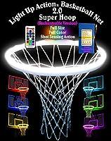 ライトアップアクションバスケットボールネット2.0 (充電式バージョン) ゴール照明システム フルサイズ フルカラー ショットセンサーアクション付き