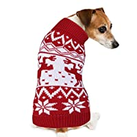 PETBABA(ペットババ) 犬 服 ニット セーター クリスマス トナカイ 小中型犬用 秋冬服 伸縮性 暖かい ドッグウェア リード通しの穴ある (S)