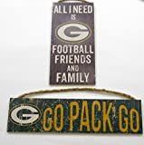 """Green Bay Packers NFL、壁の装飾、Packersチームスローガンサイン、および「All I Need Is Football Friends and Family """"、2のセット"""