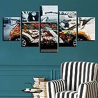 WLHBH 現代のキャンバスフレームワークリビングルームのHDホームデコレーション5パネルカラフルな車のプリント写真絵画壁アートモジュラーポスター,10x15 10x20 10x25cm,フレーム付き