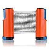 Sumnacon ポータブル卓球ネット 開閉式 卓球 収納袋付き (オレンジ+ブルー)
