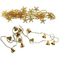 Perfk クリスマスツリー ハンギング デコレーション リスマス スター + ベル チェーン ガーランド 金色 2つ/セット
