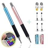 aibow 極細 2in1 ディスク スタイラスペン タッチペン2本+交換用ペン先6個 iPhone iPad Android (ライトブルー+ローズゴールド)