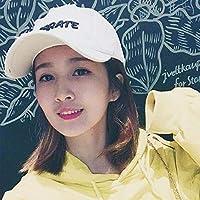 Chuiqingwang 野球帽の女性の春の旅行夏の日焼け止めベンド帽子男性カップルカジュアル野生学生キャップ (Color : Letter white)
