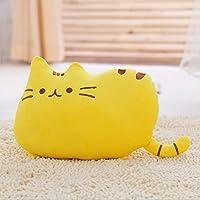 Yitengフワフワ 柔らか かわいい ネコ クッション 抱き枕 オフィス用にも (黄色)