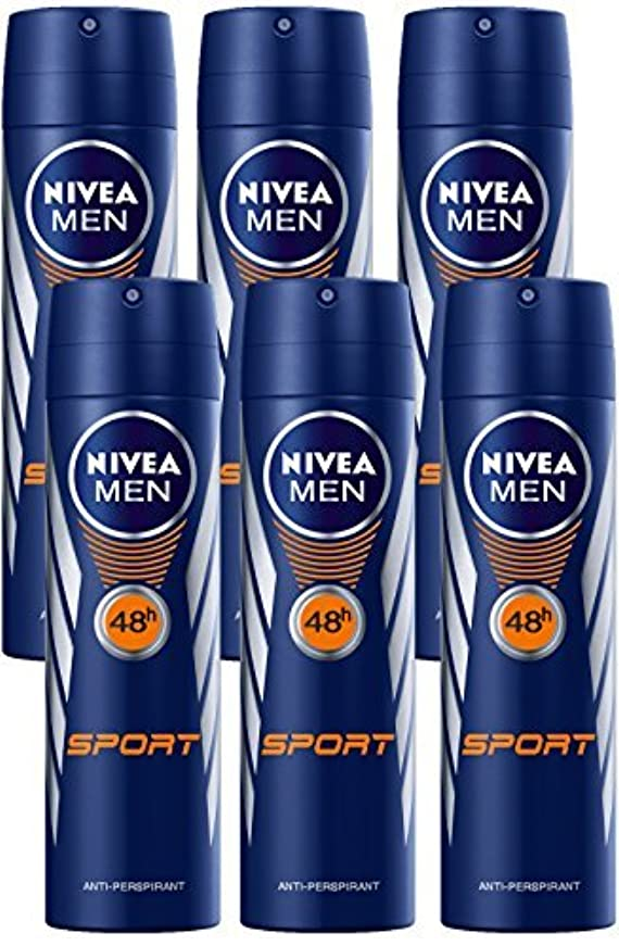 補助金作成者ただやるNivea for Men Sport Deodorant/Antiperspirant Spray 150ML (6 Pack) - 並行輸入品 - Nivea for Menスポーツデオドラント/制汗剤スプレー150ML(6パック)