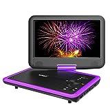 ポータブルdvdプレーヤー 270度回転 4.5時間再生 [MP4 MP3 CPRM CD USB SD対応」ieGeek 9.5インチ DVDプレーヤー リージョンフリー 2年保証 紫