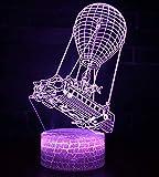 Fortnite 3Dビジュアル LEDナイトライト 平面ランプ 3D立体感 夜灯 スタンドライト 装飾ランプ 7種の色 USB給電 (Fire Balloon Boat)