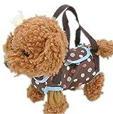 MJS-P 【 装着簡単 お散歩が楽しくなる 】 カジュアル かわいい お出掛け便利な ペットバッグ ( 小型犬、猫用 / S サイズ / ブラウン / 鈴、リード付き ) 服 / 肩掛け / トートバッグにも