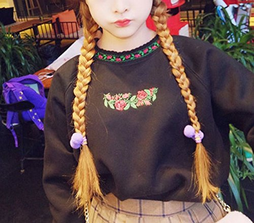 (ステキ ファーム) SUTEKI FARM レディース 花柄 刺繍 スウェット トレーナー レトロ 原宿 系 (ブラック)