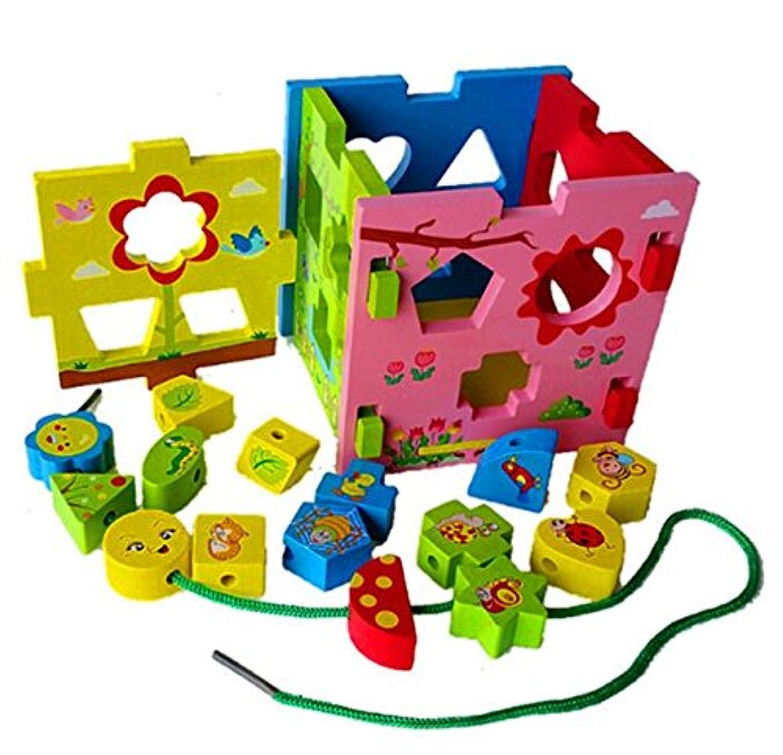 HuaQingPiJu-JP 子供のための多色の木の形のソーター幾何学的な並べ替えの箱の教育的な形の色の認識の玩具